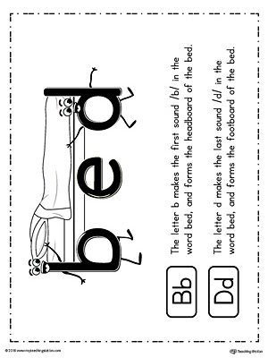 b-d Letter Reversal Teaching Poster Using the Word Bed
