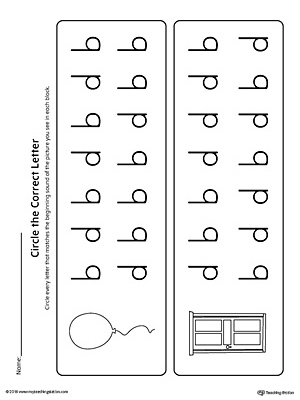 b-d Lowercase Letter Reversal Worksheet by Matching to Beginning Sound