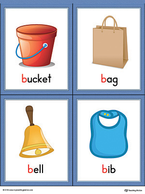 Letter B Words and Pictures Printable Cards: Bucket, Bag, Bell, Bib (Color)