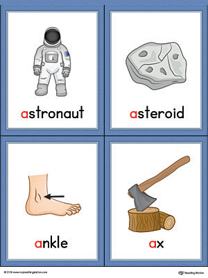 Letter A Words and Pictures Printable Cards: Astronaut, Asteroid, Ankle, Ax (Color)