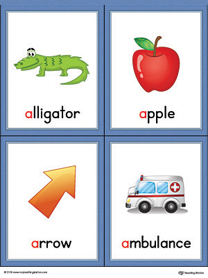 Letter A Words and Pictures Printable Cards: Alligator, Apple, Arrow, Ambulance (Color)