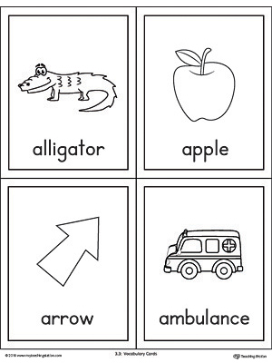 Beginning sound vocabulary cards for letter A, includes the words alligator, apple, arrow, and ambulance.