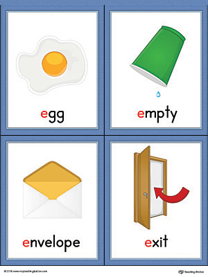 Letter E Words and Pictures Printable Cards: Egg, Empty, Envelope, Exit (Color)