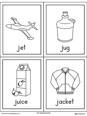 photo about Printable Jacket named Letter J Words and phrases and Visuals Printable Playing cards: Jet, Jug, Juice