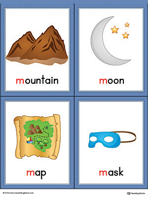 Letter M Words and Pictures Printable Cards: Mountain, Moon, Map, Mask (Color)