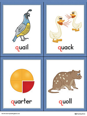 Letter Q Words and Pictures Printable Cards: Quail, Quack, Quarter, Quoll (Color)