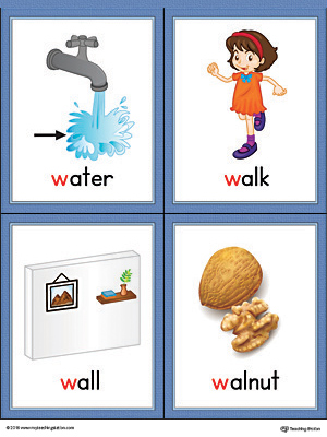 Letter W Words and Pictures Printable Cards: Water, Walk, Wall