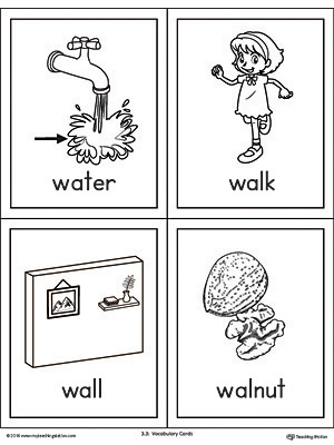 Letter W Words and Pictures Printable Cards: Water, Walk ...