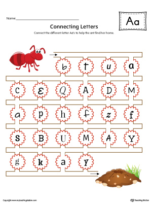 Finding and Connecting Letters: Letter A Worksheet (Color)