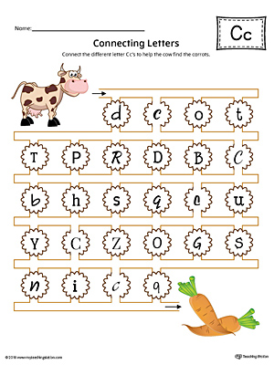 Finding and Connecting Letters: Letter C Worksheet (Color)