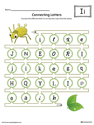 Finding and Connecting Letters: Letter I Worksheet (Color)