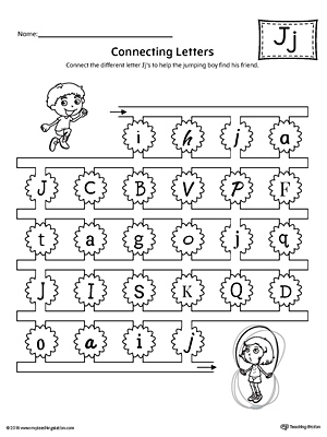 finding and connecting letters letter j worksheet