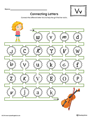 Finding and Connecting Letters: Letter V Worksheet (Color)