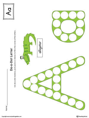 Letter A Do-A-Dot Worksheet (Color)