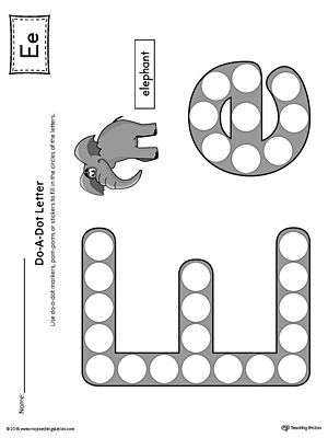Letter E Do-A-Dot Worksheet (Color)