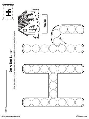 letter h do a dot worksheet. Black Bedroom Furniture Sets. Home Design Ideas