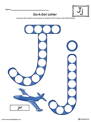 Letter J Do-A-Dot Worksheet (Color)
