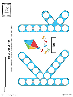 Letter K Do-A-Dot Worksheet (Color)