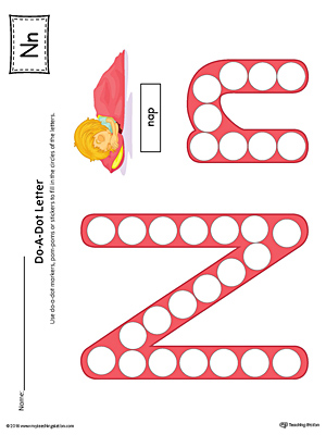 Letter N Do-A-Dot Worksheet (Color)