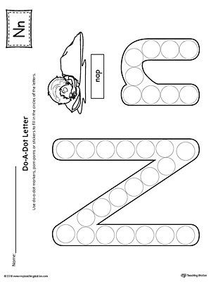 Lowercase Letter N Color-by-Letter Worksheet | MyTeachingStation.com