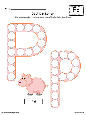 Letter P Do-A-Dot Worksheet (Color)