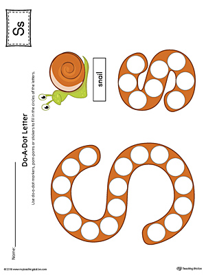 Letter S Do-A-Dot Worksheet (Color)