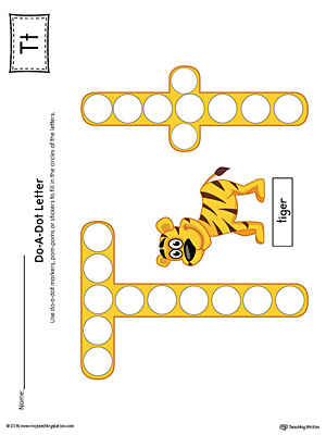 Letter T Do-A-Dot Worksheet (Color)