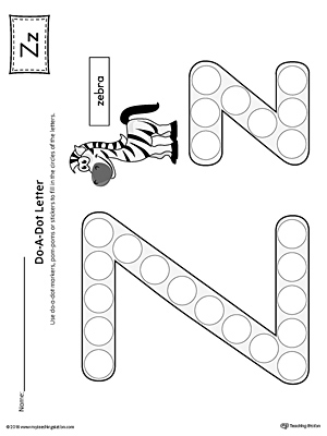 Letter Z Do-A-Dot Worksheet (Color)