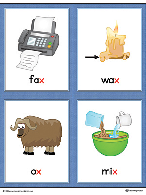 Letter X Words and Pictures Printable Cards: Fax, Wax, Ox, Mix (Color)