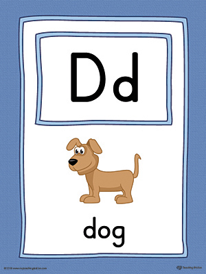 Letter D Large Alphabet Picture Card Printable (Color)