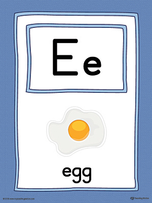 Letter E Large Alphabet Picture Card Printable (Color)