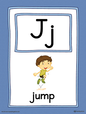 Letter J Large Alphabet Picture Card Printable (Color)