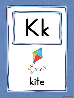 Letter K Large Alphabet Picture Card Printable (Color)