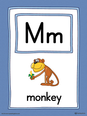 Letter M Large Alphabet Picture Card Printable (Color)