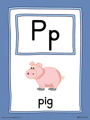 Letter P Large Alphabet Picture Card Printable (Color)