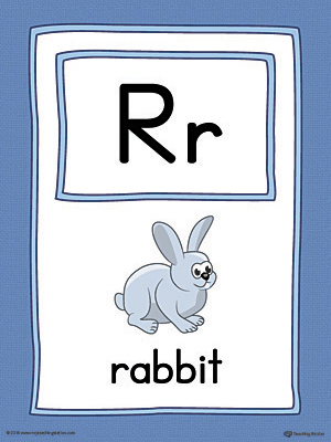 Letter R Large Alphabet Picture Card Printable (Color)