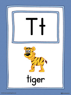 Letter T Large Alphabet Picture Card Printable (Color)