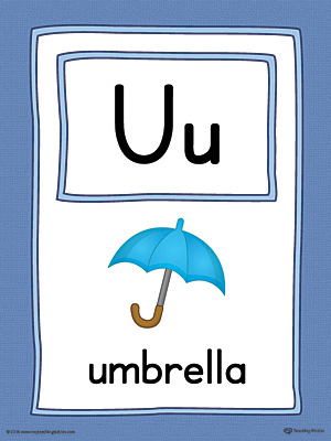 Letter U Large Alphabet Picture Card Printable (Color)