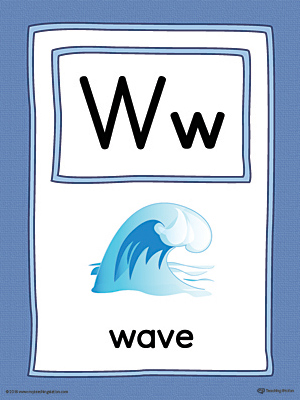 The Letter W Large Alphabet Picture Card in Color is perfect for helping students practice recognizing the letter W, and it