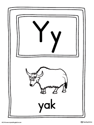 Letter Y Large Alphabet Picture Card Printable