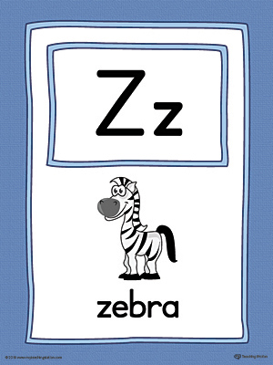 The Letter Z Large Alphabet Picture Card in Color is perfect for helping students practice recognizing the letter Z, and it