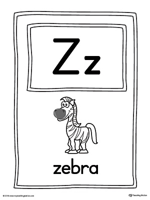 Letter Z Large Alphabet Picture Card Printable
