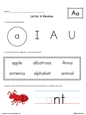 Learning the Letter A Worksheet (Color)