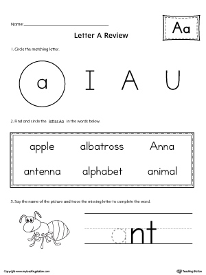 learning the letter a worksheet