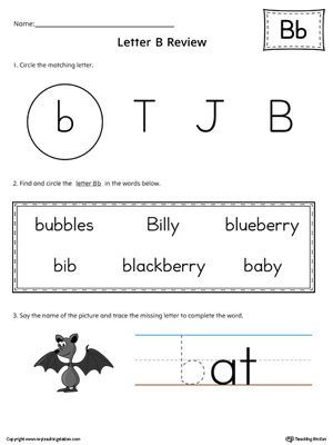 Learning the Letter B Worksheet (Color)