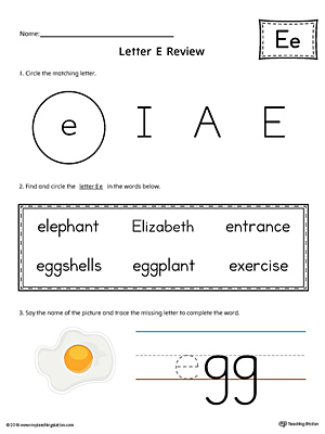 Learning the Letter E Worksheet (Color)