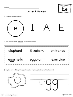 Learning the Letter E Worksheet