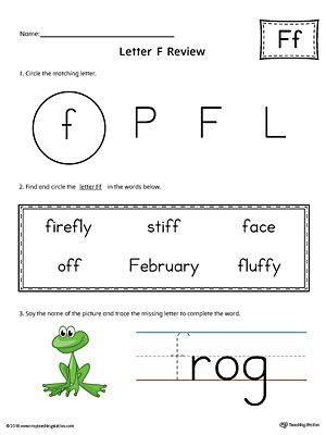 Learning the Letter F Worksheet (Color)