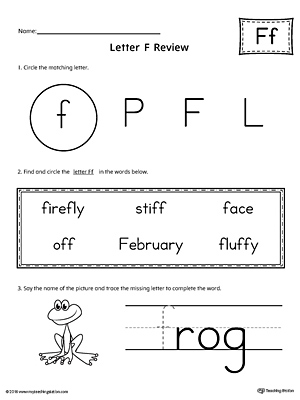 Picture Letter Match: Letter F Worksheet | MyTeachingStation.com