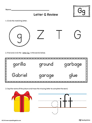 Learning the Letter G Worksheet (Color)